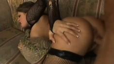 Long-haired babe in stockings Tory Lane likes slurping tasty cream