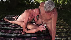 Two dirty old men find a feisty young brunette in the woods and bang her