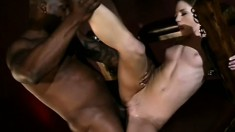 Sexy slender brunette has a black guy roughly drilling her sweet holes