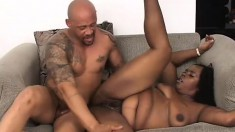 Fat Slut Dimples trades oral and gets her big pussy drilled by black cock