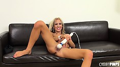 The blonde finds comfort and satisfaction in having those dildos all over her twat