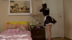Teen in a French maid outfit blows and fucks, then gets her ass drilled