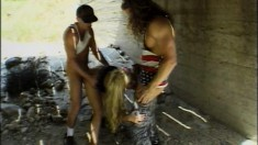 Dirty blonde babe gets down and dirty under a bridge for cash