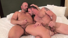 Sexy guy gets on all fours and takes a big dick up his ass from behind