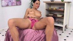 Alex gets undressed to finger her hole and then shove in a dildo