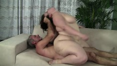 Fat girl Cherie has a horny old man roughly pounding her tight pussy