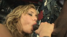 Buxom blonde cougar Shyla Stylez has a black guy banging her tight ass