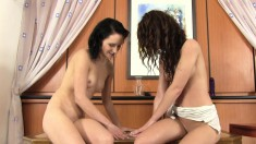 Lesbian lovers Gitti and Sissy share a big dildo and their hot juices