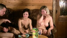 Blonde and brunette housewives have a few drinks and share a big dick