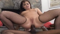 Slutty redhead rubs her clit while a big black pole stretches her ass