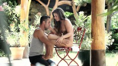 Attractive young girl making sweet passionate love with her boyfriend