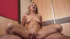Blonde grandma eats his meat and gets her twat licked and dicked