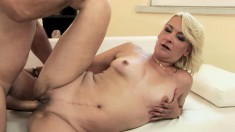 Adorable blonde milf works her juicy cunt on every hard inch of dick