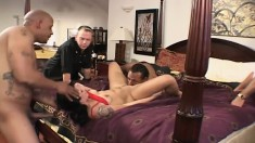Hunky Julian and Delvin get to penetrate Katrina Craven's holes at the same time