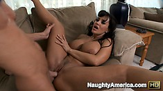 Lisa Ann gets spooned and then he drills her and cums on her tits