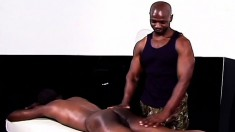 Sexy black hunk enjoys a relaxing massage and a rough anal drilling