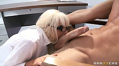 Slutty busty blonde babe in the loony bend eats cock for every meal