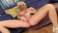 Buxom blonde hottie Naomi Cruise takes Nathan Threat's inky big cock in her pussy
