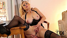 She fucks her pussy with her glass cock, now it's all wet for her ass