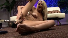Busty Blonde Amanda Tate Has A Big Sex Toy Drilling Her Shaved Pussy