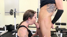 Buxom brunette unleashes her sexual desires with a hung guy in the gym