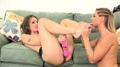 Ravishing girls peel off their panties and engage in hot lesbian love