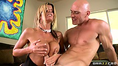 She rides his cock fast and hard and slides it between her huge tattas