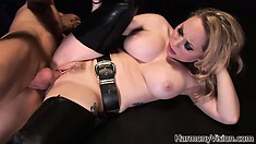 He plows his fat tool deep in her tight mistress cage from behind