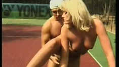 Hot tennis player gets banged out on the court by her instructor