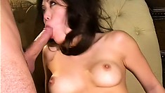 The Asian babe pleases that rod like only she knows how and takes a big load on her face