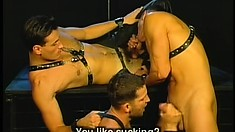 Hot gay fetish as this trio of studs in leather beat the man meat