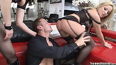 Hot blonde got tired of watching Rocco with a brunette and joined the fun