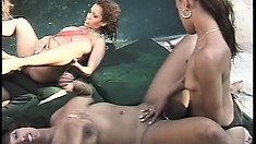 Ebony bitches head to their backyard to have a wild foursome
