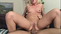 Beautiful young blonde spreads her lovely legs to get her tight ass drilled deep