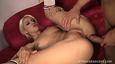 Blonde with an ass that's out of this world gets fucked hard