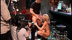 Back stage with Brianna Banks shooting a porn video in a bar