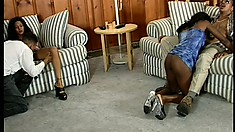 Gorgeous black babe gets bent over a couch and fucked real good