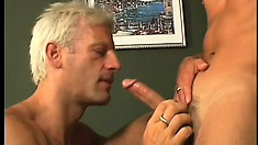 Older men make good use of a horny twink's twitching schlong