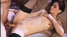 Slim brunette in black stockings Alesha gets fucked by the fireplace
