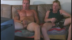 A couple of muscular guys love to watch each other jerking off
