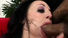Cum addict Deja Dare gulps down a double dose of sticky man milk