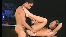 Manly dude fantasizes about gay sex while he strokes his big cock