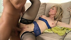 Blonde MILF is riding his bone and gets it nailed by spooning