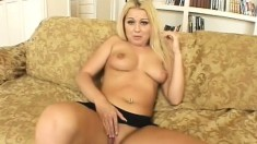 Gorgeous blonde with great titties takes some doggystyle boning