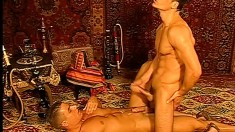 Muscle Stud Takes Huge Cock In His Ring