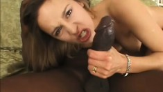 Petite white chick gags as a big black snake nails her throat