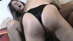 Lesbian threesome gets nasty and they eat pussy before strapon fucking