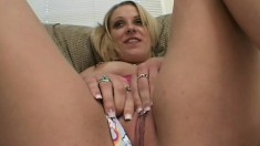 Gorgeous blonde babe with pierced nipples takes on two black cocks