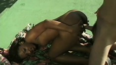 Stunning black girl with a perfect booty fucks a big white rod outside