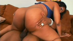 Chubby ebony woman finds the pleasure she desires in a huge black cock